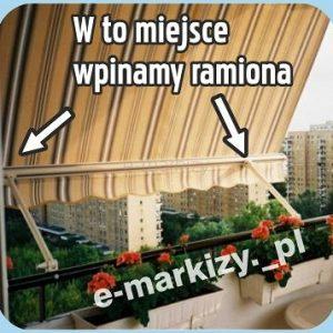 markiza balkonowa z ramionami poreczowymi