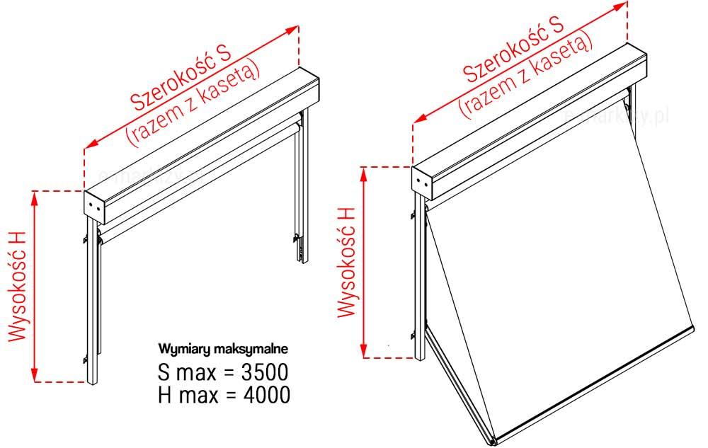 Markizoleta 120 szczegóły pomiaru, szerokość kasety, jak mierzyć markizoroletę