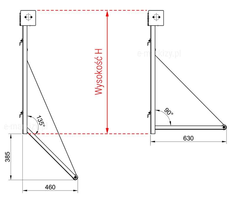 Markizoleta 120 wymiary boczne, jak mierzyć markizoletę, markizoleta kąt pochyłu, markizoroleta kąt pochyłu
