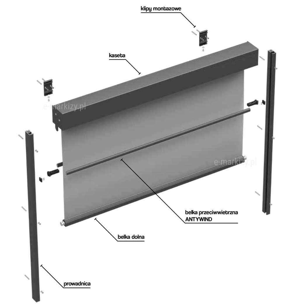 Refleksol 120 Selt, Komponenty refleksola, kaseta refleksola, klipy montażowe, belka dolna tkaniny, belka przeciwwietrzna, prowadnica tkaniny refleksola