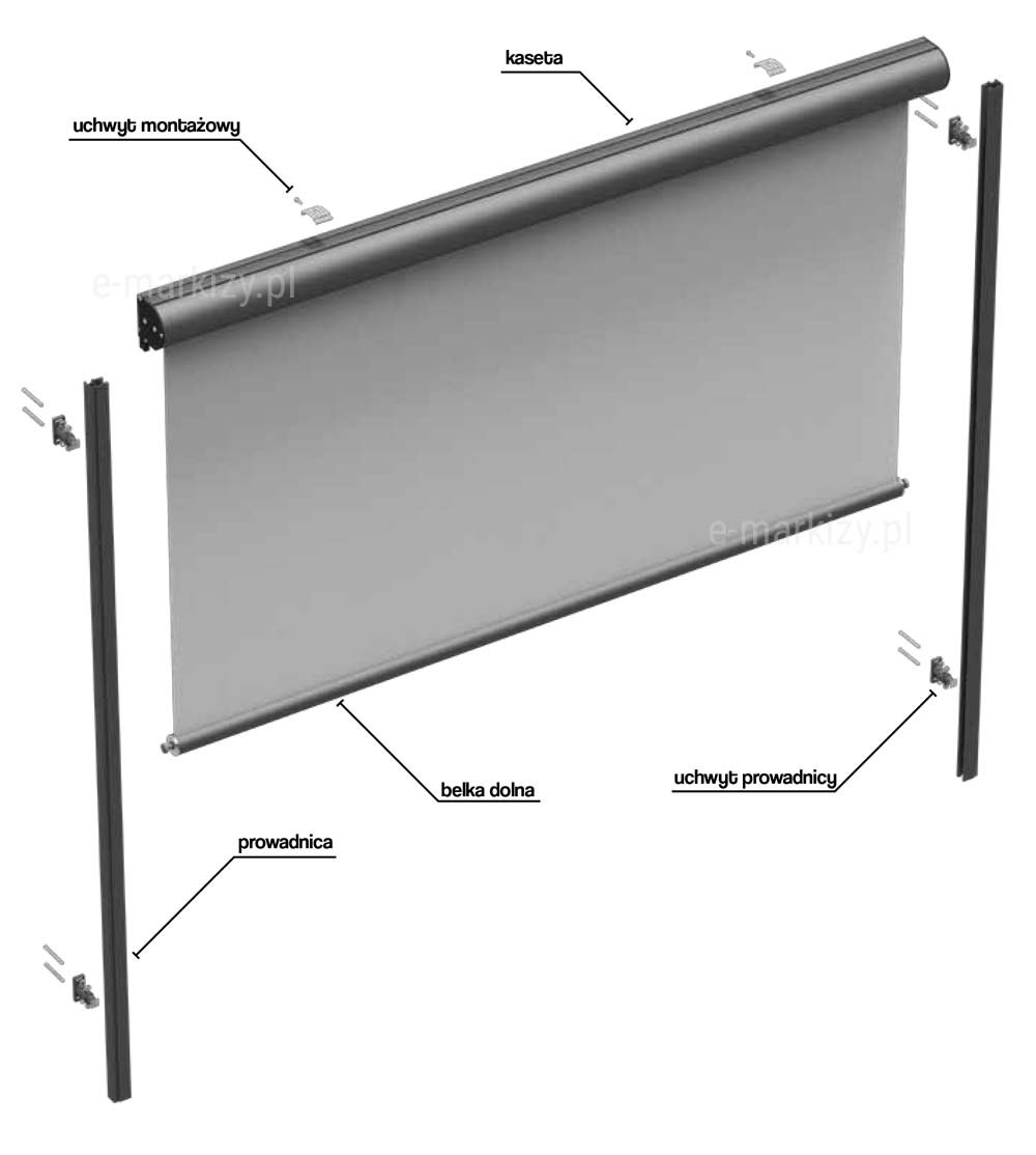 Refleksol 76 selt, komponenty refleksola, uchwyt montażowy, kaseta refleksola, prowadnica tkaniny, belka dolna, uchwyt prowadnicy