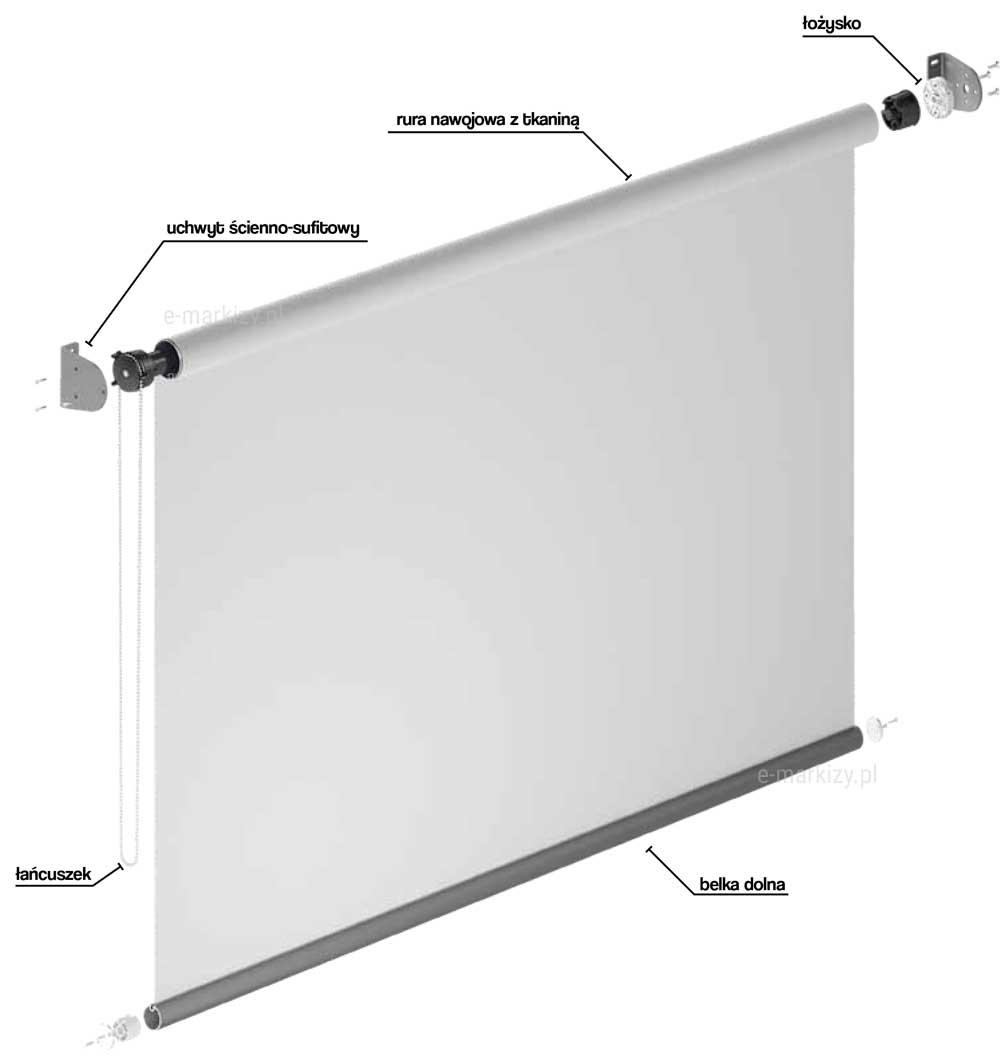 Refleksol XL MA Selt, komponenty refleksola, rura nawojowa, łożysko, uchwyt ścienno-sufitowy, łańcuszek, belka dolna