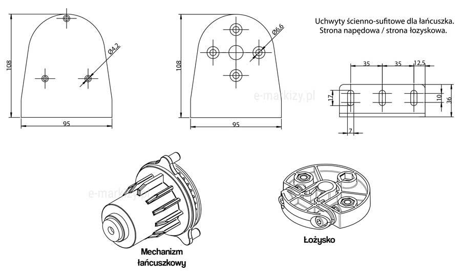 Refleksol XL MA Selt, uchwyt ścienno-sufitowy dla łańcuszka