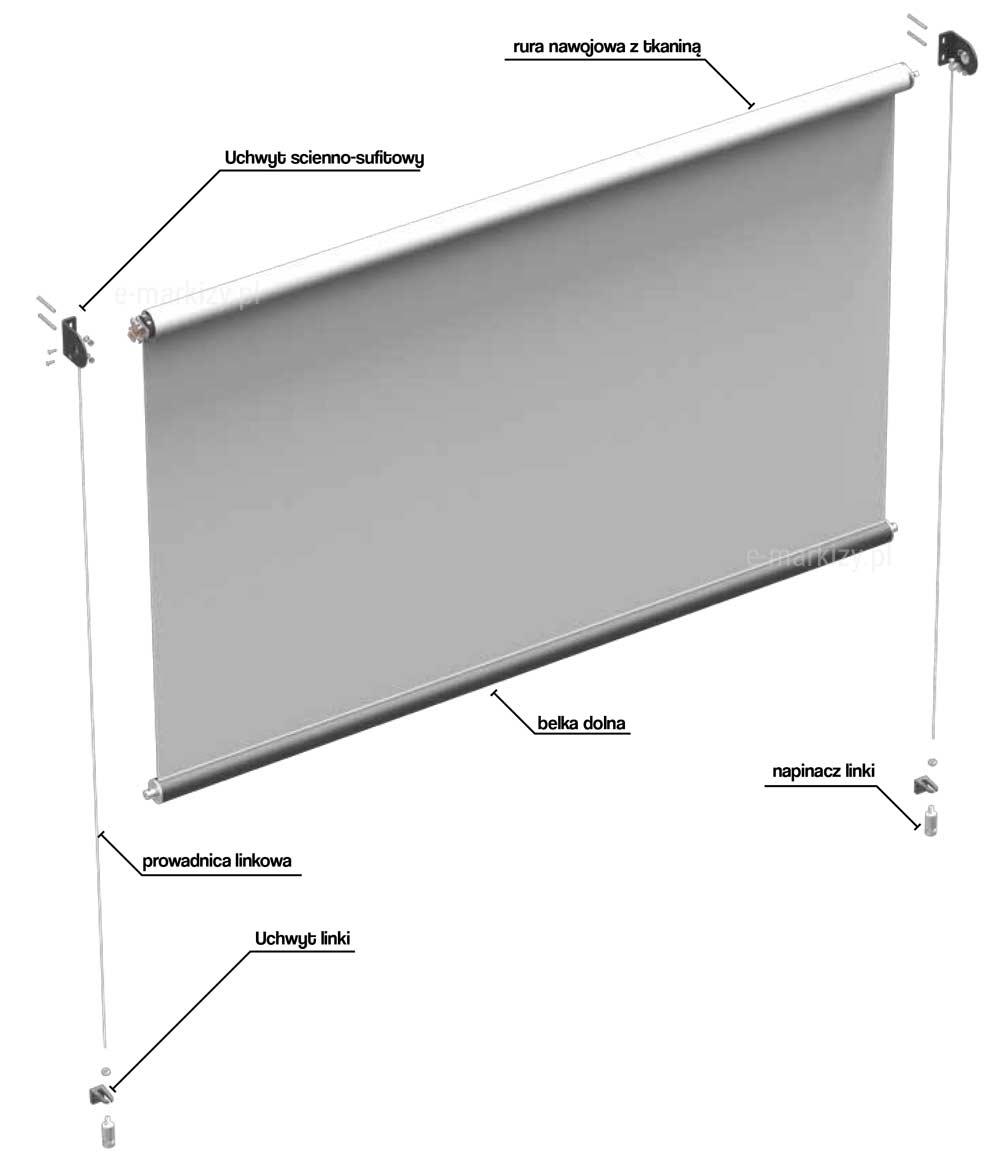 Refleksol XS Selt, komponenty refleksoli, uchwyt ścienno-sufitowy, rura nawojowa z tkaniną, prowadnica linkowa, napinacz linki, uchwyt linki