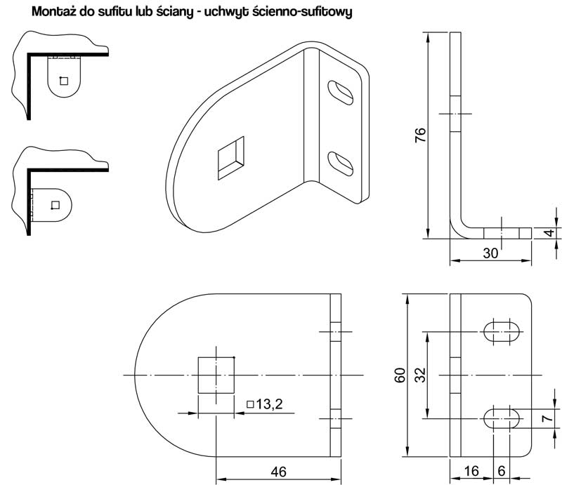 Refleksol XS uchwyt ścienno-sufitowy, montaż refleksola do ściany, montaż refleksola do sufitu