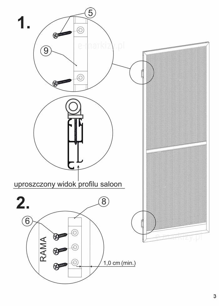 Montaż moskitiery zawiasowej saloon, moskitiera mol montowanie