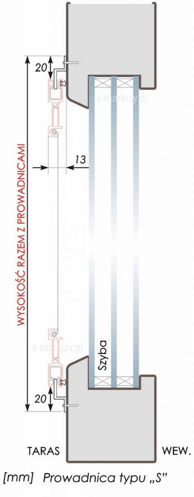 Moskitiera Slim prowadnica typ s, prowadnice moskitiery dane techniczne