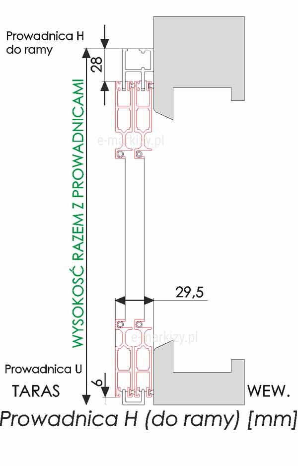 Moskitiera Solid prowadnica typ h, wymiary prowadnic moskitiery
