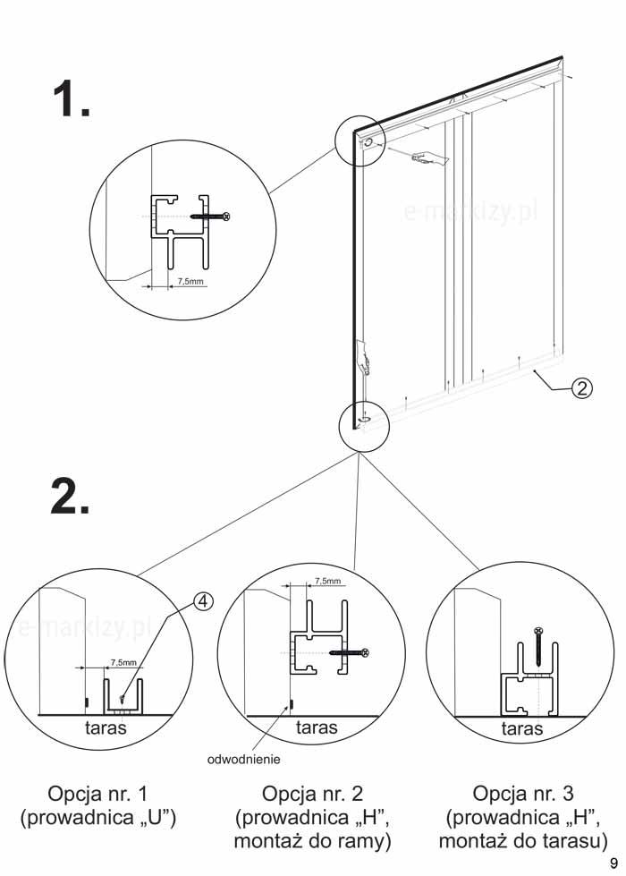 Moskitiera slider montaż podwójny, prowadnica U, prowadnica H