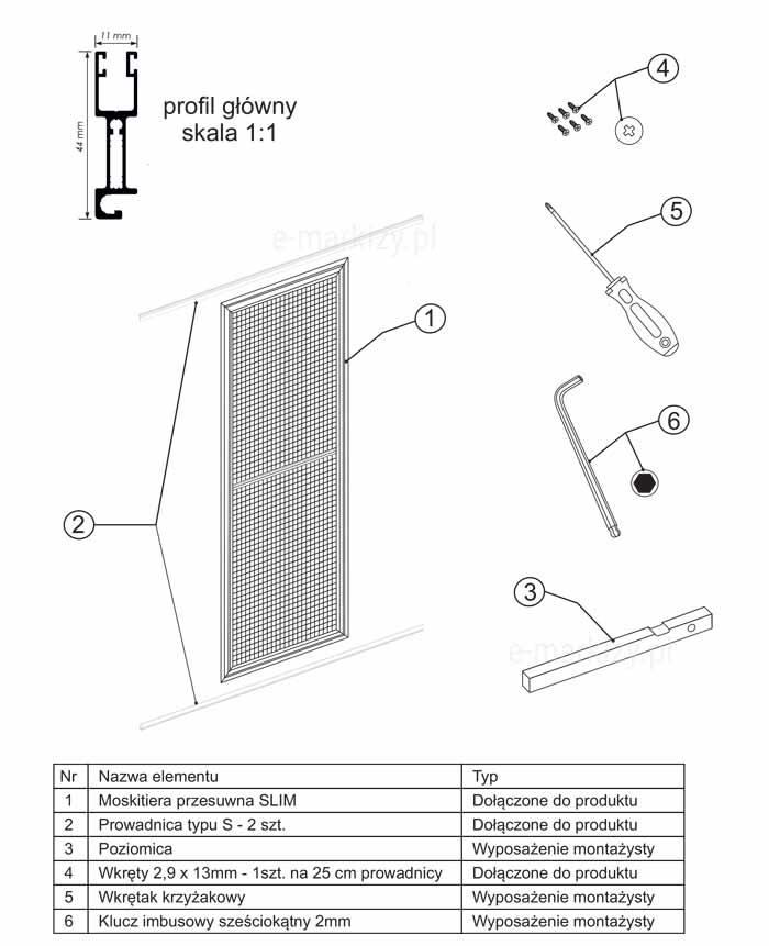 Moskitiera slim montaż, komponenty moskitier, elementy moskitiery