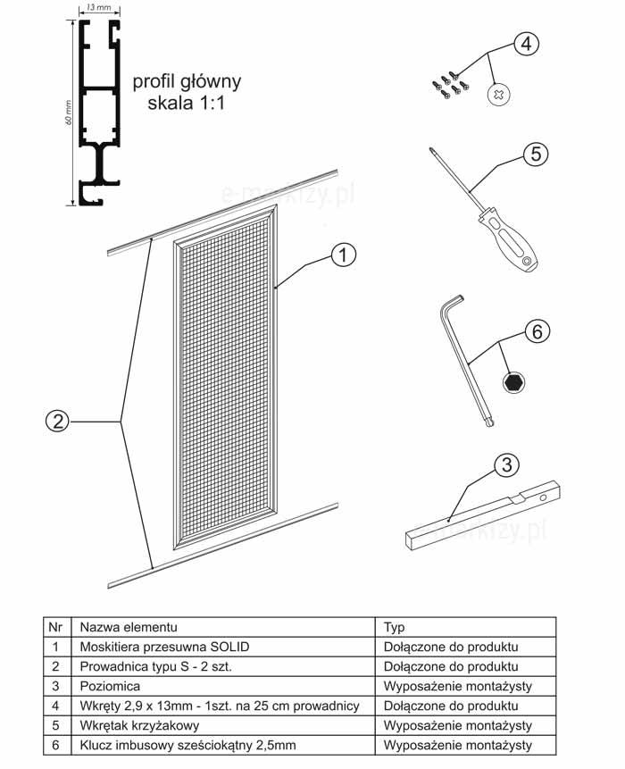 Moskitiera solid montaż, komponenty moskitiery