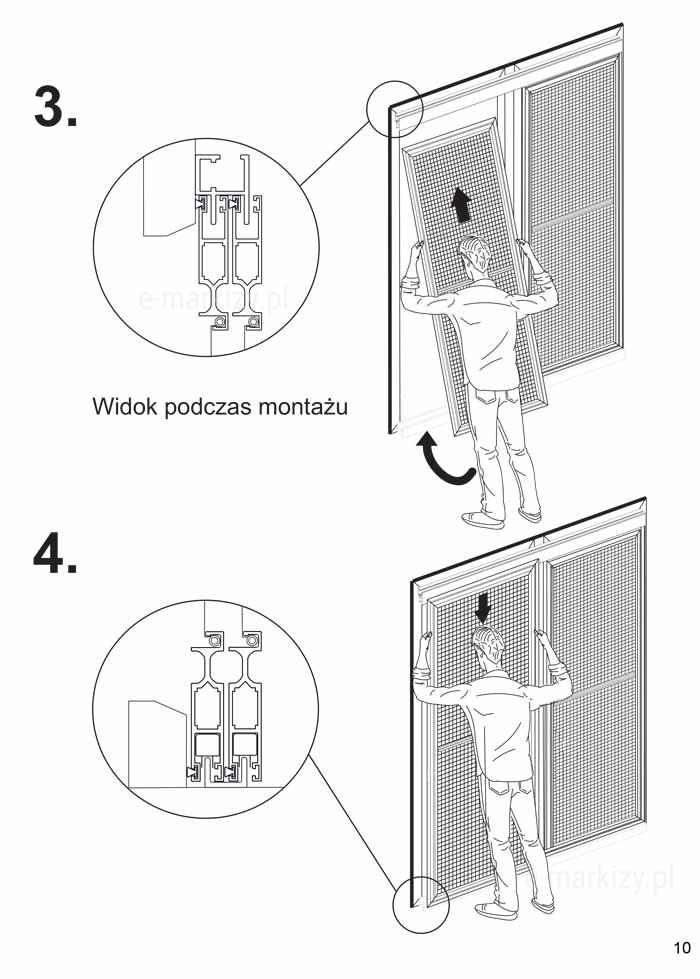 Moskitiera solid, montaż moskitiery podwójnej na profilu h i U
