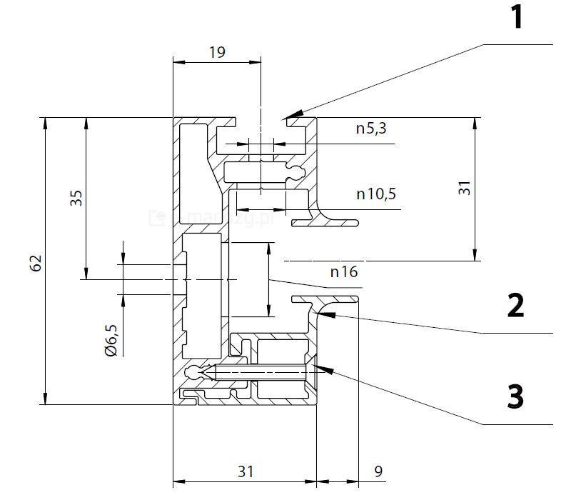 Refleksol 120 ziiip, profil prowadnicy refleksola zip 120