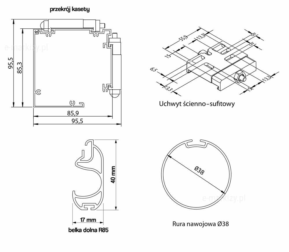 Refleksol 85 Manual, kaseta refleksola, uchwyt sufitowo-ścienny, belka dolna, rura nawojowa, przekrój kasety refleksola