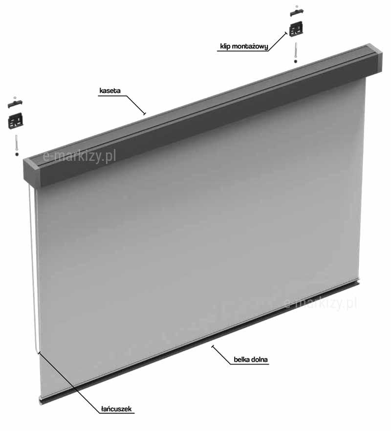 Refleksol 85 Manual, komponenty refleksola, klip montażowy, kaseta, belka dolna, łańcuszek