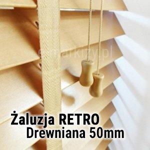 Żaluzja drewniana 50mm wycena, żaluzje drewniane w stylu retro