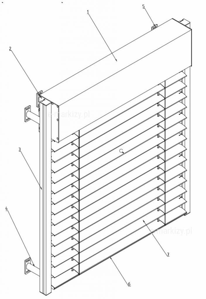 C80 cube komponenty żaluzji fasadowej z prostokątną kasetą