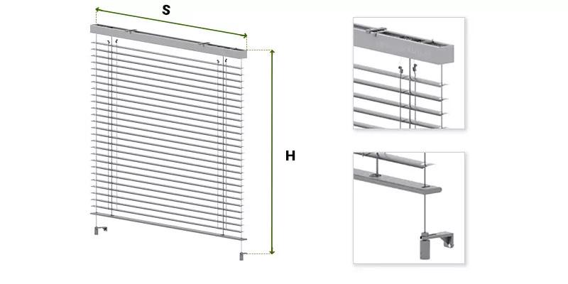 Żaluzja fasadowa C50 Slim wymiarowanie, jak mierzyć żaluzję fasadowe selt