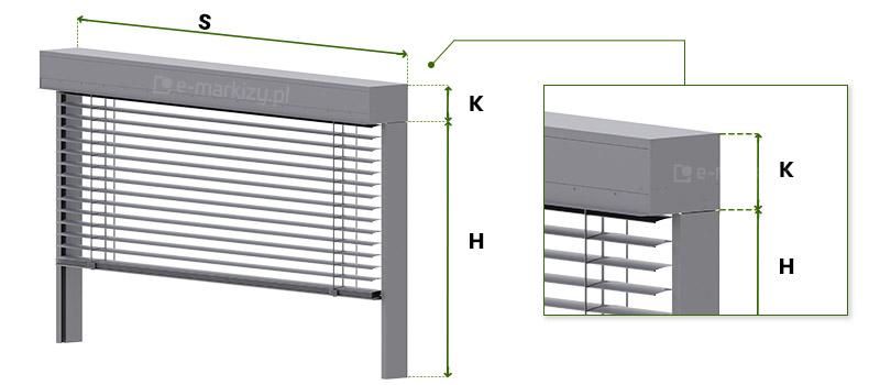 Pomiar żaluzji fasadowej - szerokość i wysokość