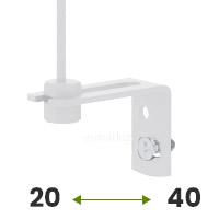 Tak, mocowanie do ściany (regulowany uchwyt 20-40mm w kolorze białym)