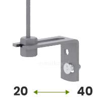 Tak, mocowanie do ściany (regulowany uchwyt 20-40mm w kolorze srebrnym)