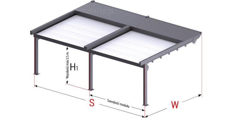 Pergola przyścienna modułowa solid selt, wymiarowanie pergoli w module, pergole tarasowe selt jak mierzyć, pomiar pergoli