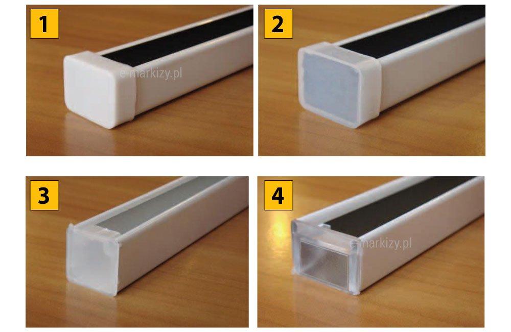 Żaluzje poziome aluminiowe rynna górna, Rynna V10 i ZRG białe, Rynna V10 i ZRG lexan, Rynna V13 i ZRG lexan, Rynna SANI i ZRG lexan