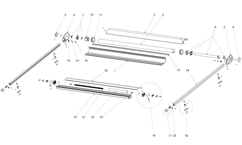 Osłona pozioma veranda komponenty, żaluzja pozioma veranda, refleksol poziomy veranda