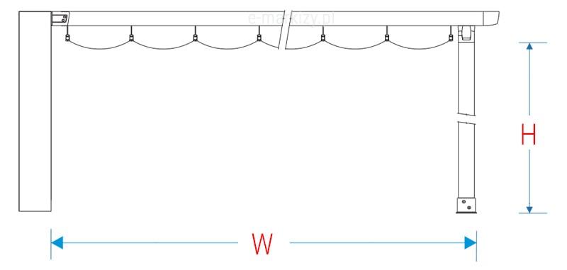 Pergola przyścienna wzdłużna costa pomiar boczny, wysokość pergoli, wysięg pergoli