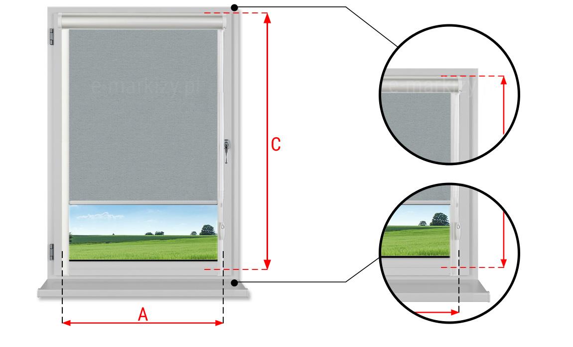 Wymiarowanie okna pod roletę lux kombi, rolety okienne pomiary, pomiar okna do rolet prowadnice przestrzenne