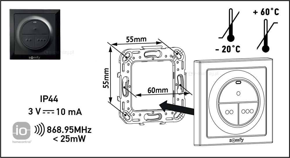 Somfy nadajnik 3ch rysunek techniczny, nadajnik somfy 1870560 dane-techniczne