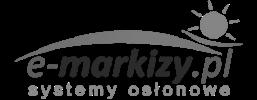 logo e-markizy osłony przeciwsłoneczne markizy pergole zadaszenia żaluzje rolety