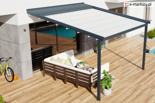 Pergola aluminiowa z dachem tkaninowym, pergola tarasowa luxo
