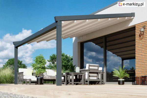 Pergola aluminiowa z dachem tkaninowym, pergole przyścienne moderno