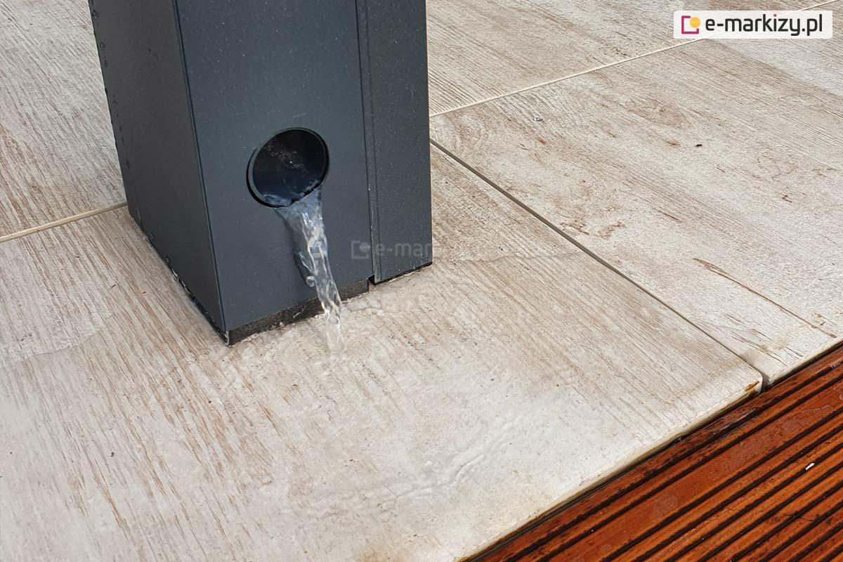 System odprowadzania wody z pergoli tarasowej, pergola luxury rynna odpływowa