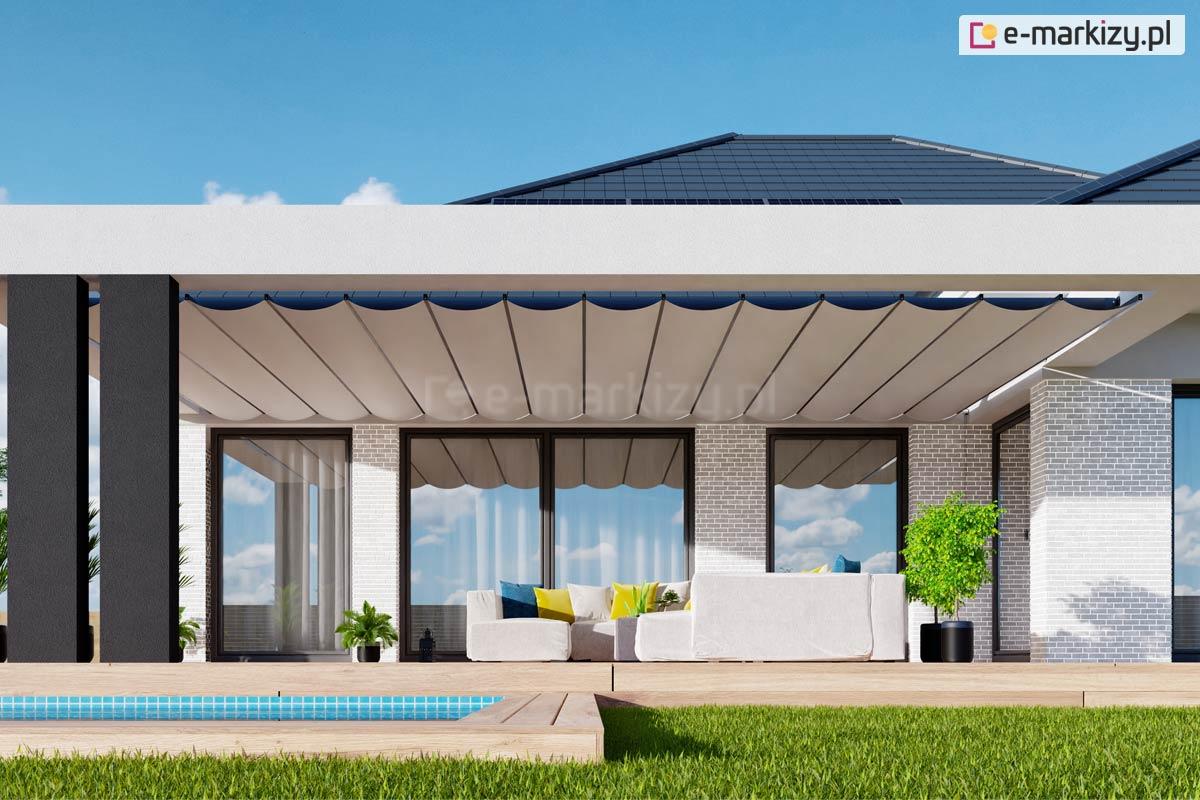 Dach pergolowy międzyścienny costa, zadaszenie pergolowe montaż do gotowej konstrukcji