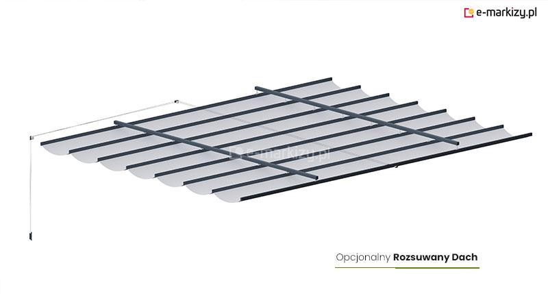 Rozsuwany dach tkaninowy do pergoli drewnianej, pergola drewniana juko opcjonalny dach rozsuwany