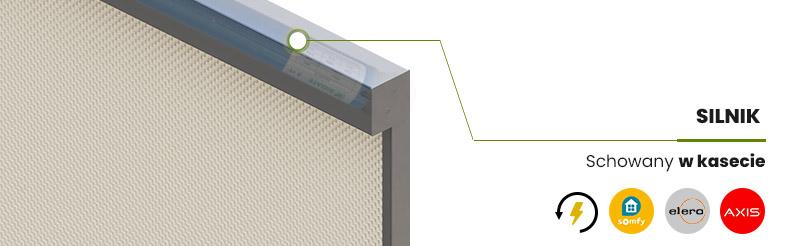 Refleksol R120 ZIIIP - wybierz odpowiedni napęd. Napęd schowany w kasecie. Kaseta kwadratowa Refleksola.