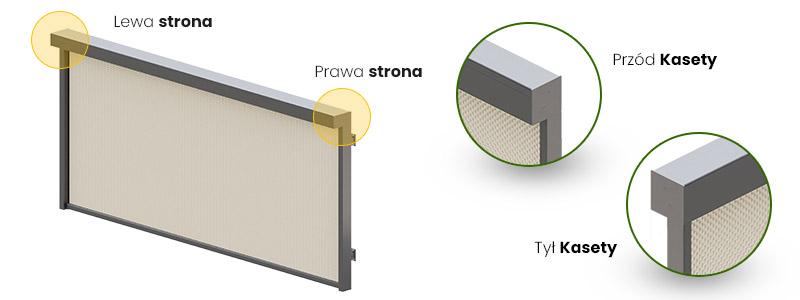 Refleksol R120 strona umieszczenia napędu strona prawa i lewa , montowanie od boku i z tyłu kasety. Refleksol z wbudowanym napedem w kasecie.