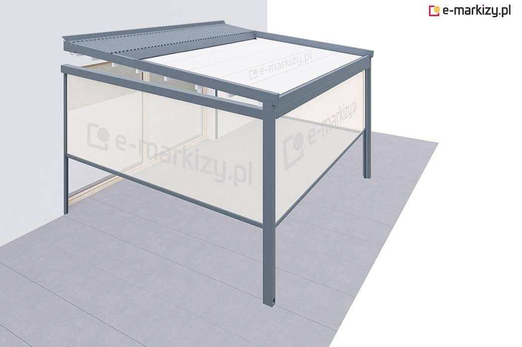Refleksole ziip do pergoli tarasowej luxo, pergola aluminiowa 1 moduł refleksol ziip front + prawa + lewa