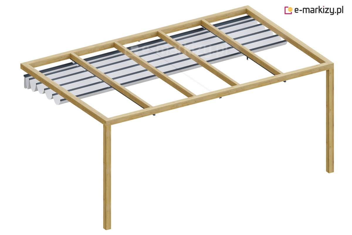 Pergola drewniana ścienna juko rozwijany dach tkaninowy