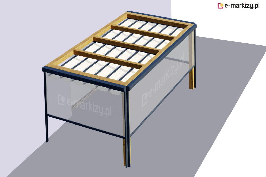 Refleksole ziip do pergoli drewnianej juko, pergola drewniana z refleksolami ziip, pergola przyścienna 1 moduł refleksol ziip front prawa lewa