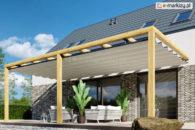 Zabudowa tarasu z dachem tkaninowym juko clasic, pergola drewniana rozwijany dach