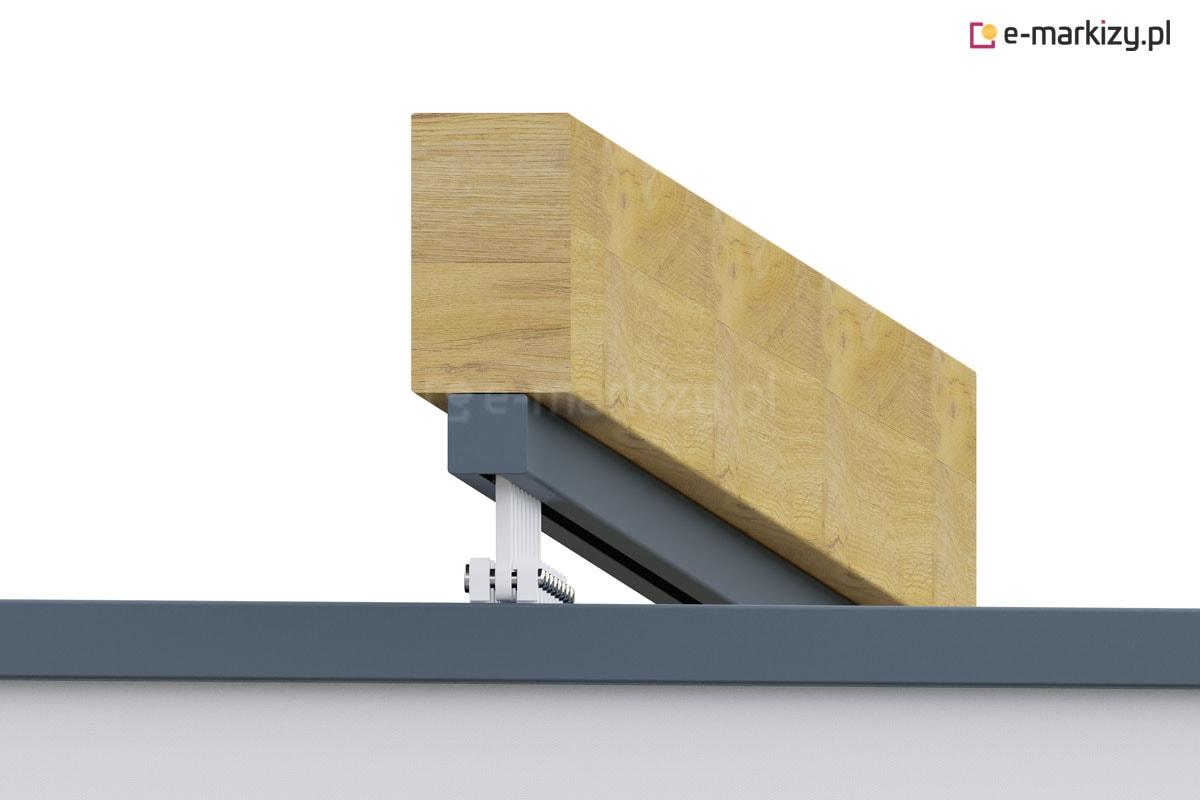 Zadaszenie tkaninowe montaż prowadnic dolny, dach pergola clasic