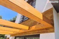 Konstrukcja drewniana nad taras, pergola juko