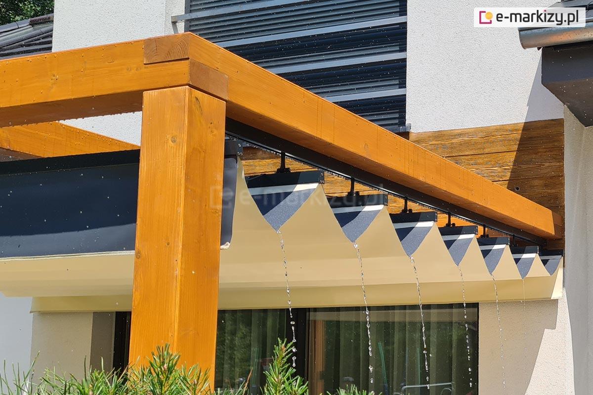 Odprowadzanie wody z dachu pergoli, juko supro clasic