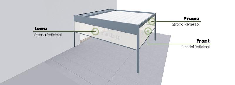 Pergola przyścienna luxury 1 moduł umiejscowienie refleksoli, refleksole ziip do pergoli aluminiowej