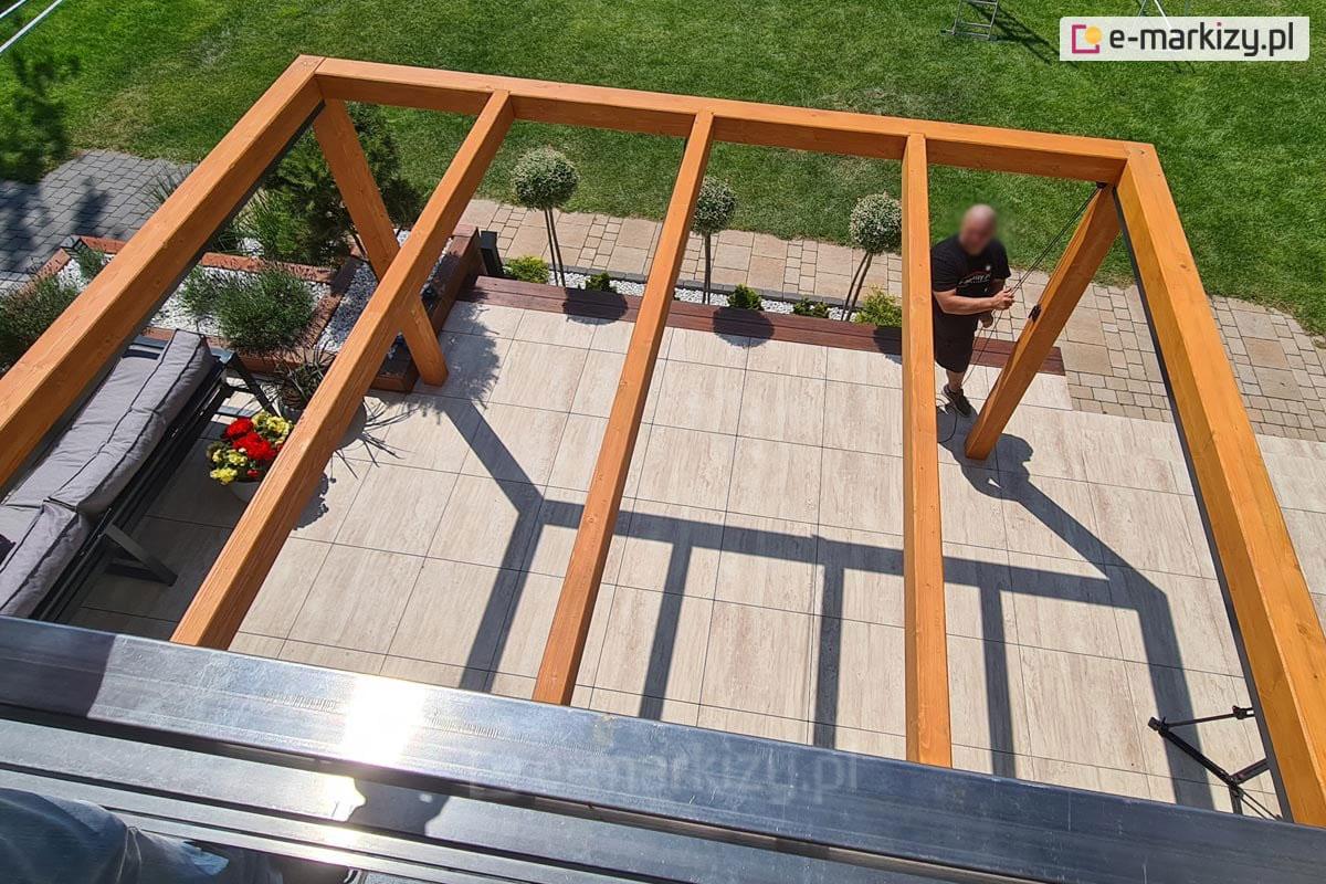 Pergole z dachem zwijanym, drewniane pergole juko